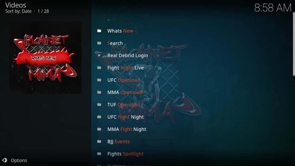 Planet MMA Kodi Add-on