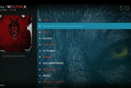 Como instalar o add-on Wolfpack para Kodi