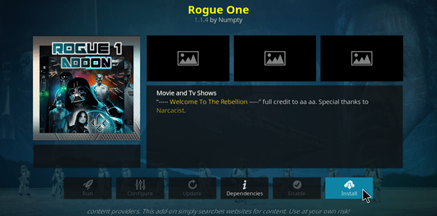 La bonne méthode pour installer l'addon Rogue One sur Kodi en 2021