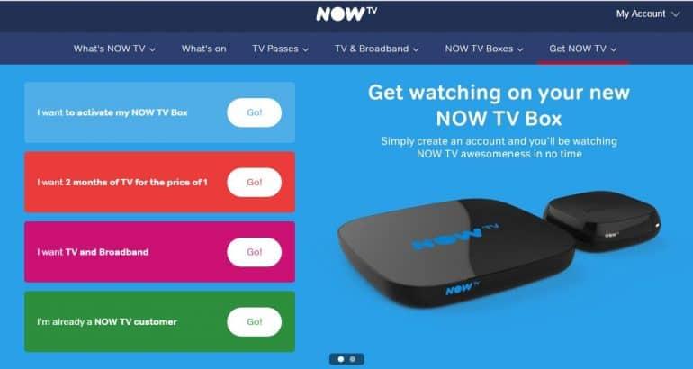Now TV Website