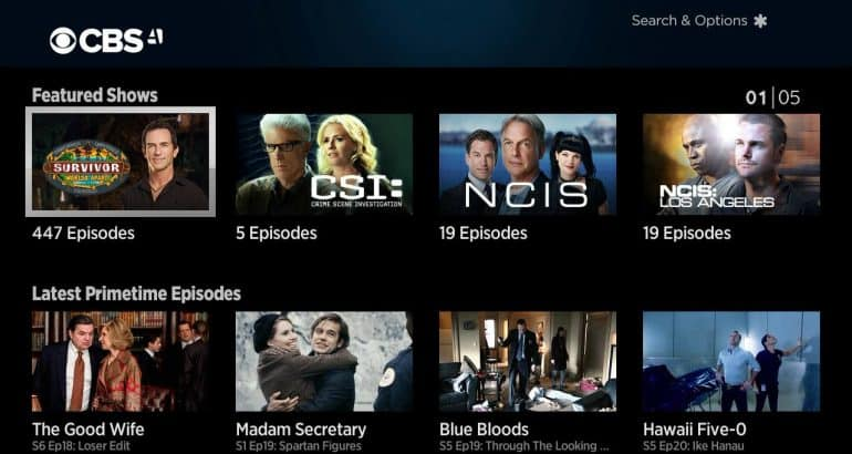 CBS All Access Home Screen