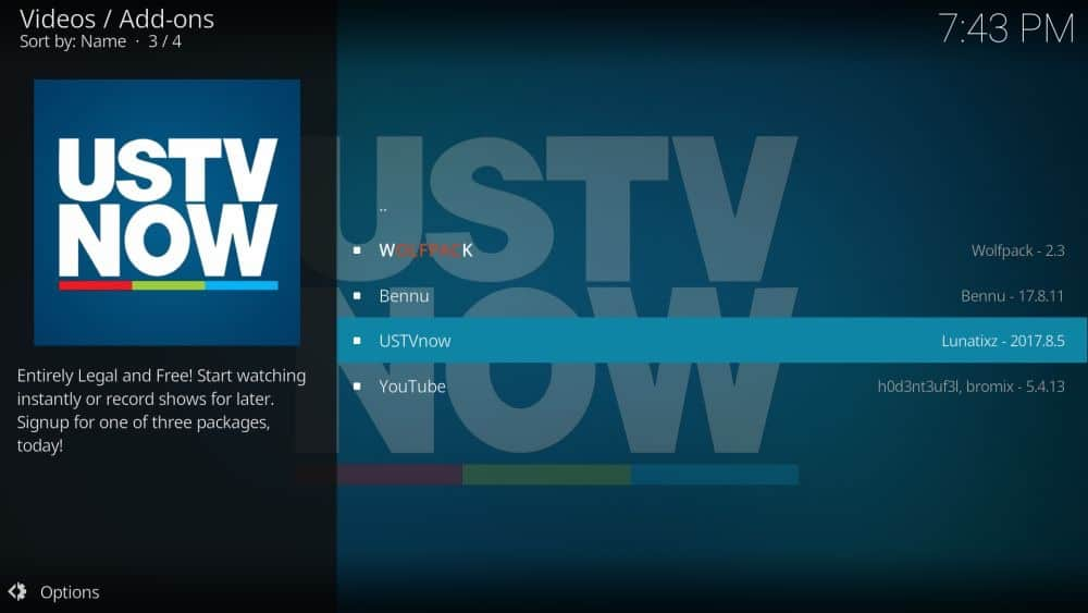USTVNOW on Kodi