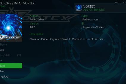 Como faço para instalar a extensão Vortex no meu aplicativo Kodi?