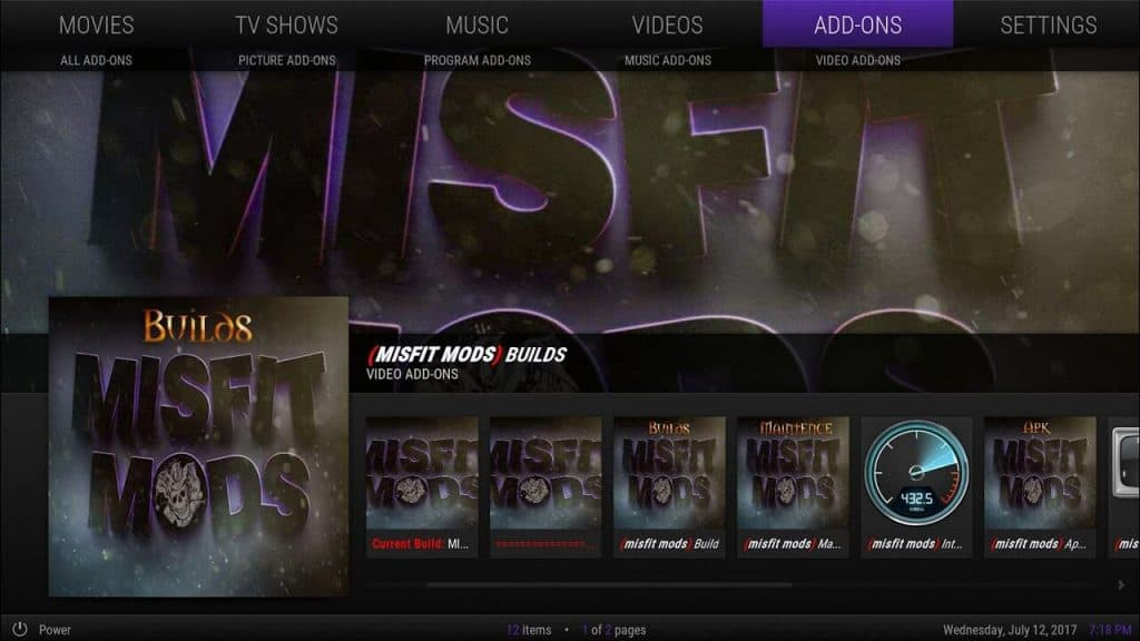 Kodi Misfit Mods Lite Build