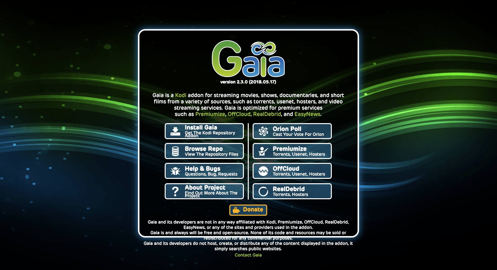 Step by Step Guide to Install the Gaia Add-On for Kodi